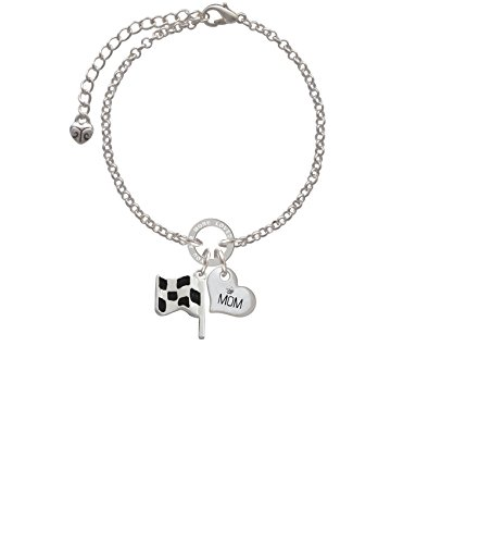 Jewelry Nascar - Silvertone Checkered Race Flag Mom You Are Loved Circle Bracelet, 8