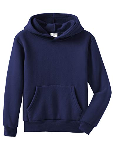 Spring&Gege Youth Solid Pullover Fleece Hoodies Kids Sport Hooded Sweatshirts for Teen Girls and Boys Navy Blue Size 5-6 Years