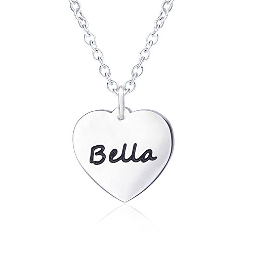 Bella Name Necklace for Women Personalized with Silver Heart Necklaces Girlfriend Script Pendant Carved Engraved