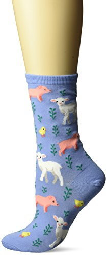 (Hot Sox Women's Originals Fashion Crew Novelty Socks, Piglet, Lamb, And Chick (Coastal Blue), Shoe Size: 4-10)