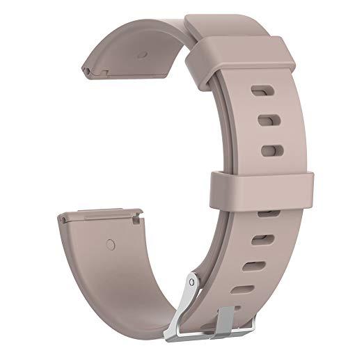 wpOP59NE Watch Band for Fitbit Versa Lite/Versa Silicone Smart Watch Band Wrist Strap Replacement Comfortable Khaki S