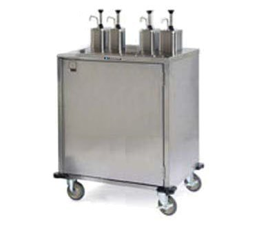 Lakeside Stainless Steel EZ Serve Condiment Cart with 4 Pumps, 27 1/2 x 50 1/4 x 49 1/2 inch - 1 each.
