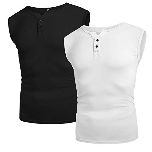 Babioboa Mens 2 Pack Tank Tops Henley V Neck Gym Muscle Tee Fitness Workout Bodybuilding Sleeveless Shirt