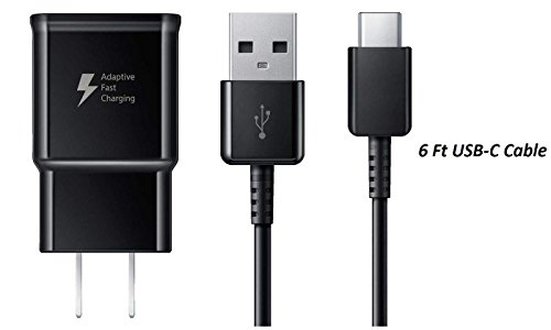 Samsung Fast Adaptive Wall Adapter Charger for Galaxy S9 S9+ Note 9 S8 S8+ Note 8 EP-TA20JBE + 6 Foot (2 Meter) UrbanX Type C / USB-C Cable - Black by Samsung