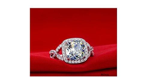 3carats Solitaire Halo Coussin et ronds imitation diamant blanc Bague en Argent Sterling 925pour mariage/fiançailles/anniversaire, toutes les tailles disponibles