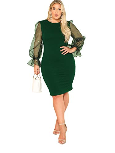 SheIn Women's Plus Size Elegant Mesh Contrast Pearl Beading Sleeve Stretchy Bodycon Pencil Dress Green 3X-Large