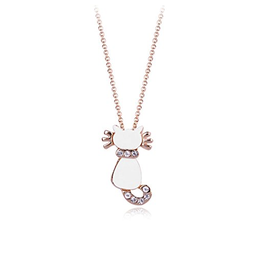 Gold Plated Lovely White Cat with Clear Round Cubic Zirconia Crystal Pendant Necklace Fashion Jewelry for (White Cat Costume For Kids)