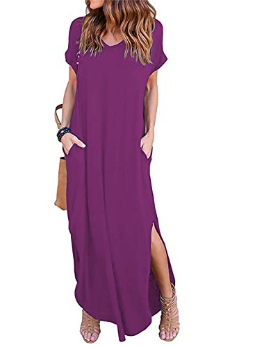 (Arolina Women Ladies Sexy Casual Short Sleeve Beach Party Slit Long Maxi Dress Purple Red)