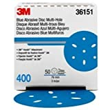 Hookit 36151 Blue Abrasive Disc (Multi-hole 3 in 400 grade 50 discs per box)