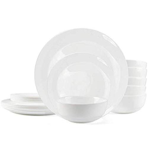 "Dinnerware Set Danmers 18-piece Opal Dishes Sets Service for 6 Plates Bowls 5.5"" Break and Crack Resistant Dish Sets"
