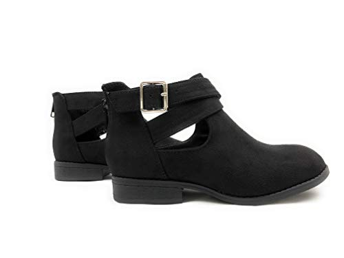 (Little Kids/Children / Girls JDMore Closed Toe Criss Cross Buckle Cutout Low Stack Heel Zipper Buckle Ankle Boot(Black Imsu, size_name : 3 M US Little Kid))