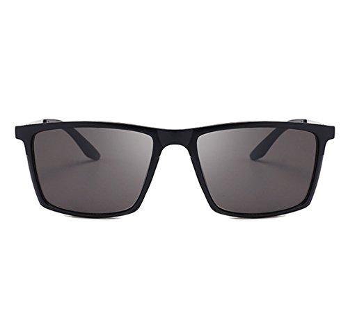 sol retro de neutral cuadradas Gris UV400 polarizado Mate protección clásicas Gafas Worclub Negro espejo conducción de qEwffz