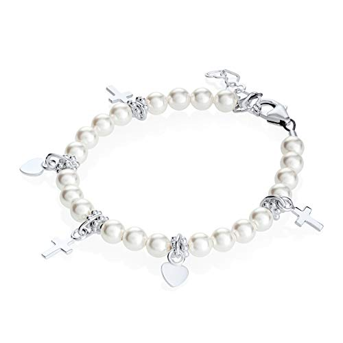 Sterling Silver Toddler Girl Charm Bracelet - with Swarovski Simulated Pearls and Silver Cross and Heart Charms - Best Baptism and Christening Gift for Girls ()