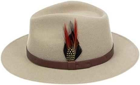 dise/ño cl/ásico de ala ancha con plumas vintage Sombrero de fieltro de lana para hombre y mujer Fedora