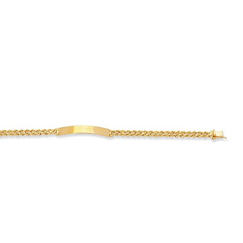 14K 7'' Yellow Gold Shiny Diamond Cut Royal Rope Chain ID Bracelet FREE ENGRAVING by BH 5 Star Jewelry