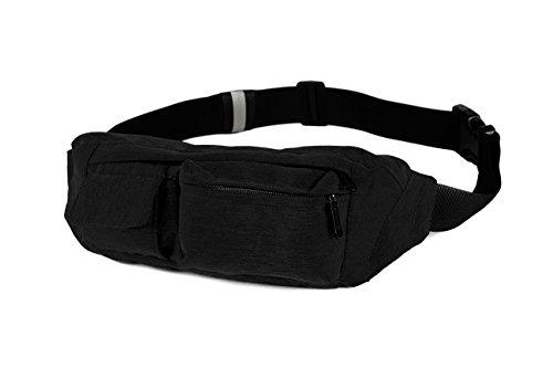 SoJourner 2-Pocket Black Fanny Pack Hip Bag - fits men, women, kids, small, medium and large