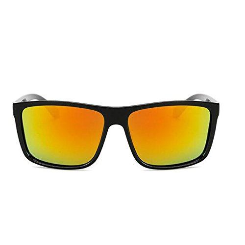 bordé vintage miroir Tukistore couleur femmes Rouge soleil pour de de polarisée corne Brillant plat grande Noir lunettes réfléchissant lentille carrée les hommes xvBBnq4