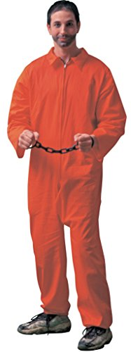 Forum Novelties Men's Adult Jailbird Costume, Orange, (Orange Jumpsuit Costumes)