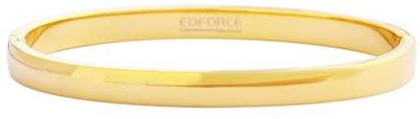Edforce Stainless Steel Women's 18k Gold Plated Stackable Bangle Bracelet Hinged Oval-Shape Slip-On, (58mm x 49mm)