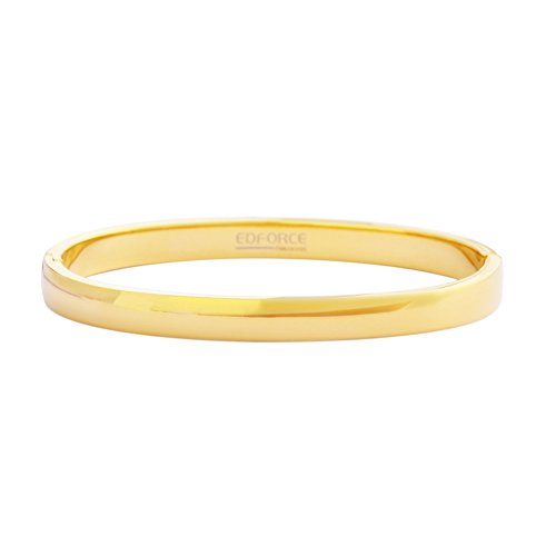 Edforce 18k Gold Plated Womens Oval Shaped Smaller Sized Wrist Stackable Bangle Bracelet Slip-On, (58mm x 49mm)