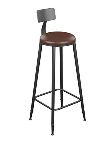 (Purki Bar Stool, Solid Wood Wrought Iron High Stool, European Retro High Chair, Multi-Standard Optional (Design : Leather Cushion, Size : 85cm))