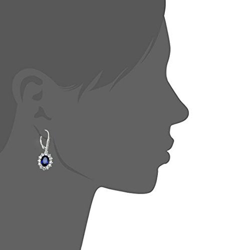 Sapphire & White Topaz Simulated Oval-cut Halo Leverback Dangle Earrings for Women Girls by YFN (Image #2)
