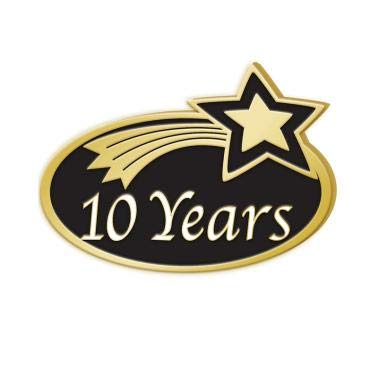 (Crown Awards 10 Years Achievement Pins - Years of Service Employee Pins 10 Pack Prime )
