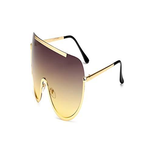 SYBYA Big Shield Glasses Oversized Alloy Sexy Cool Sunglasses Women Gold Clear Eyewear Gradient Shades Grey ()