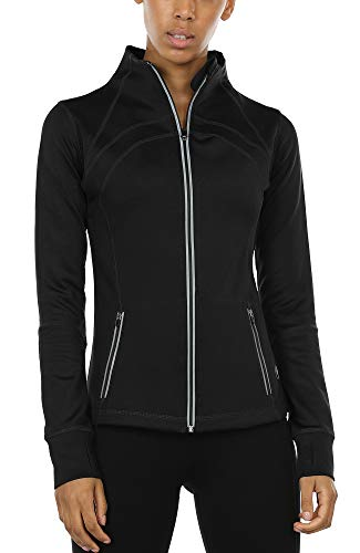 icyzone Women's Running Shirt Full Zip Workout Track Jacket with Thumb Holes (M, Solid Black)