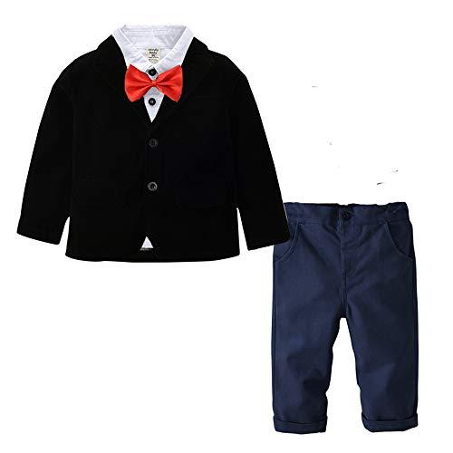 Baby Boy Outfits Set, Long Sleeves Gentleman Bow Tie Suspenders Pants(Black 110cm)