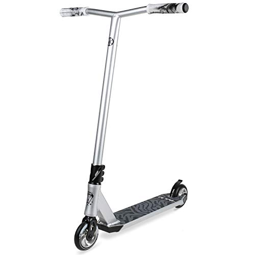 (VOKUL Complete Pro Scooter for Kids Boys Girls Teens Adults Up 7 Years - Freestyle Tricks Pro Stunt Scooter with 110mm Metal Wheels - High Performance Gift for Skatepark Street Tricks (Silver))