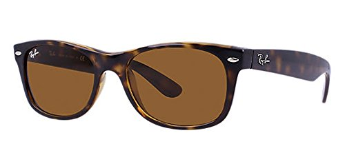 Ray-Ban RB2132 New Wayfarer Sunglasses Unisex 100% Authentic (Tortoise Frame Solid Brown Lens, 52) ()