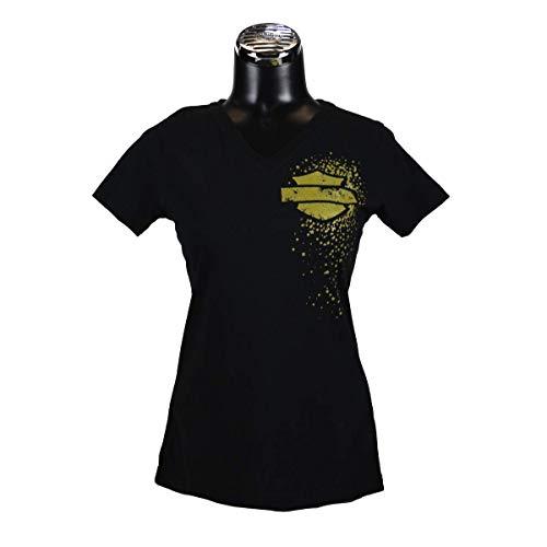 (Harley-Davidson Ladies HD Cluster Vneck Tee with Woodstock Dealer Imprint (XLarge) Black)