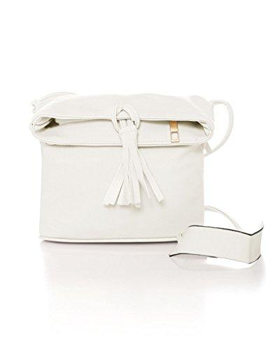 White Drawstring Bucket Crossbody Fringe Bag Women uxcell Off Fwq0aZF