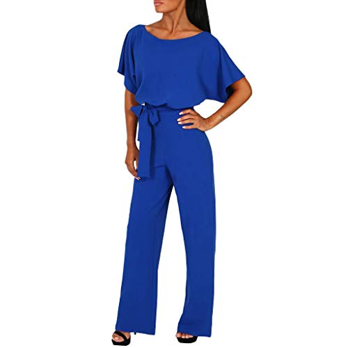 Dressin Women Short Sleeve O Neck Casual Elegant Loose Fit Long Pant Jumpsuits Romper with Belt Blue