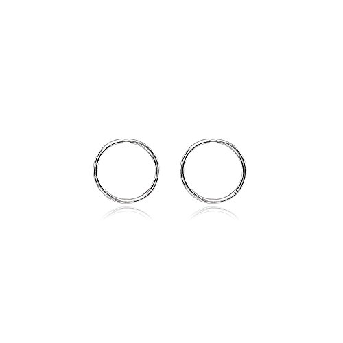 14K White Gold Tiny Small Endless 10mm Round Thin Lightweight Unisex Hoop Earrings