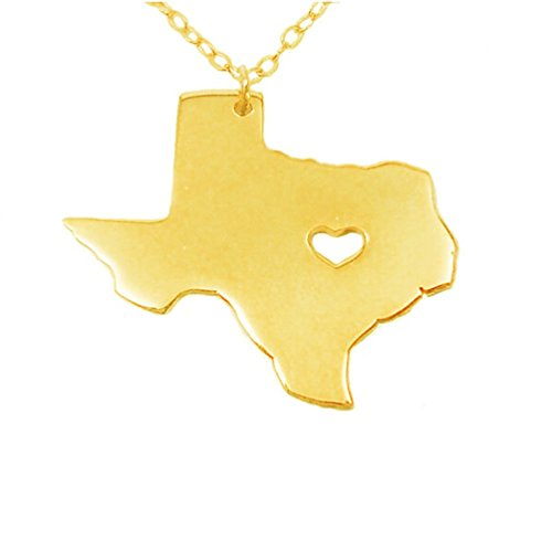 (Texas Map Necklace State Shaped Pendant Stainless Steel Map Concise Patriot Necklace with 19