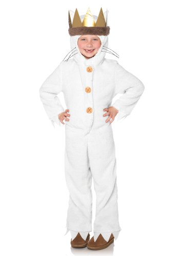 Leg Avenue Kids Max Hooded Pajamas with Tail & Attached Crown Head Piece, Cream, Small]()