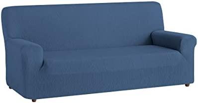 textil-home Funda de Sofá Elástica TEIDE, 1 Plaza - Desde 70 a 100 cm. Color Azul