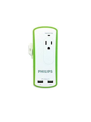 Philips Power Multiplier, Mini Portable Travel Surge Protector with Dual USB Ports, White (SPP6020A/37)