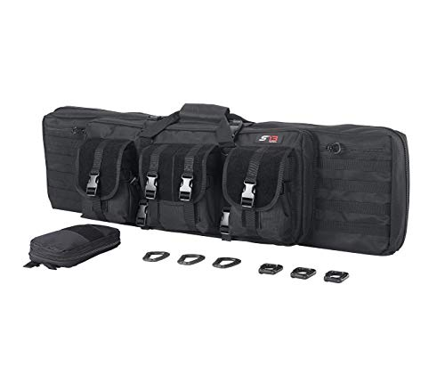 S'13 Tactical R42B Double Rifle Case - Padded Rifle Storage Backpack Integrated Pistol and Magazine Storage (Black, 42-inch)