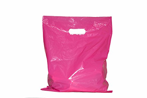 Merchandise bags: ACME Bag Bros 100 large pink glossy retail shopping bags with handles (die-cut), 12