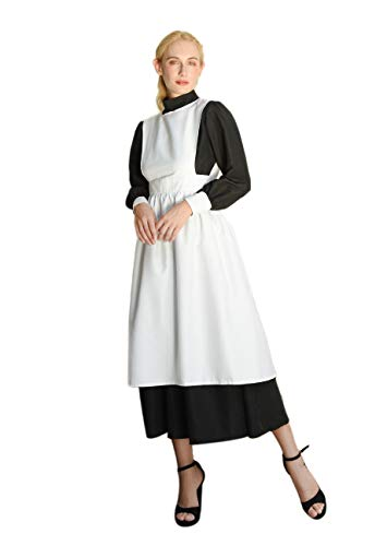 ROLECOS Women's Pioneer Costume Adult Black Pioneer Dress Prairie Colonial Dress Outfit M