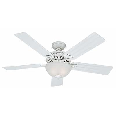 "Hunter 53122, Beachcomber White 52"" Ceiling Fan with Light"