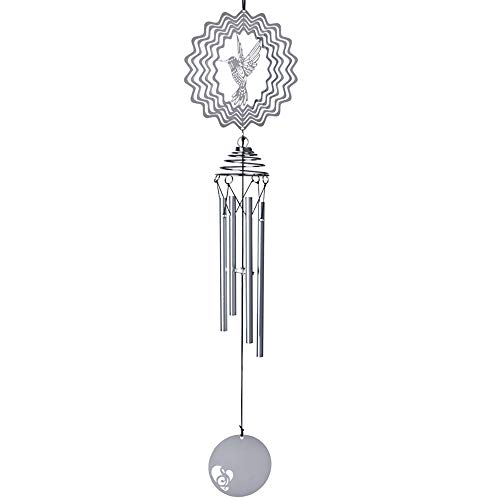 Xhope Music Wind Chime,20'' Amazing Windchime Tubes 3D Wind Spinner Perfect Noisemaker with Deep Soothing Tones for Bedroom Outdoor Patio Backyard Home Decor (Hummingbird)