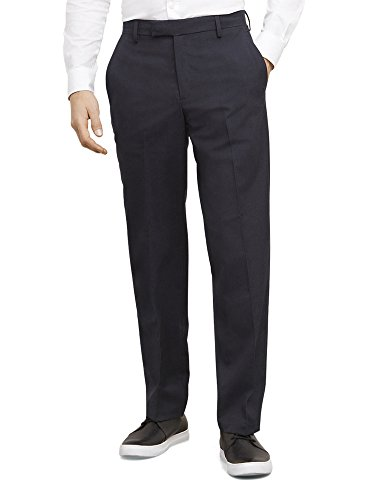 [Kenneth Cole Reaction Men's Micro Pin Stripe Slim Fit Flat Front Pant, Navy, 30x32] (Navy Pinstripe Dress)