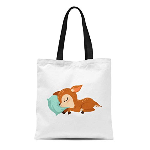 Semtomn Cotton Canvas Tote Bag Brown Reindeer Cute Little Fawn Character Slaaping on Bambi Sleeping Reusable Shoulder Grocery Shopping Bags Handbag Printed