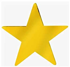 Gold star 12 cutout 1 dozen gold foil for Large cardboard cut out numbers