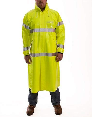 (Brite Safety Style 5214 FR Safety Raingear with Hood - Hi Vis Rain Coats for Men & Women Waterproof Flame Resistant ANSI 107 Class 3 Compliant (XL, Hi Vis Yellow))