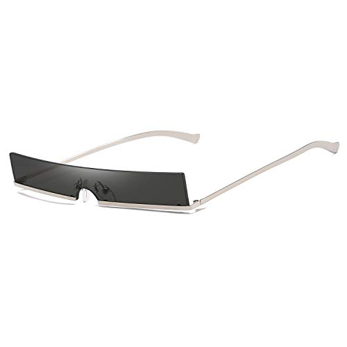 Armear Trendy Rimless Tiny Rectangle Sunglasses Slim Rectangular Black Lens 60mm (Rectangle Sunglasses Men For)